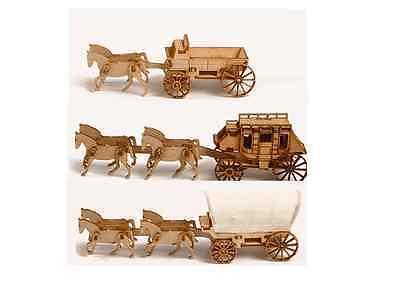 3D wood puzzle craft kit Western Wagon set (3 pcs) free shipping