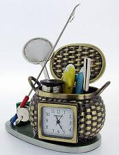 Novelty Miniature Fishing Basket Clock 1082