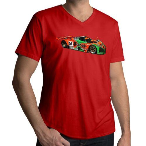 Mazda 787B 24Hour Le Mans Wankel Rotary Race Car Mens Unisex V-Neck Tee T-Shirt