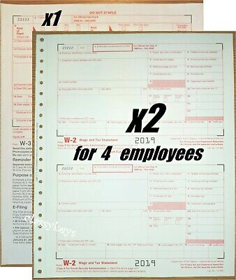 W3 #TF5650 6-pt />/>NO Env 2 2018 IRS Tax Form W-2 Wage Stmts LASER 10 employees