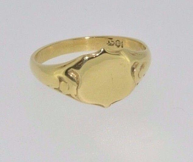 18ct oro Giallo SCUDO Anello Con Sigillo Sigillo Sigillo Taglia M a09657