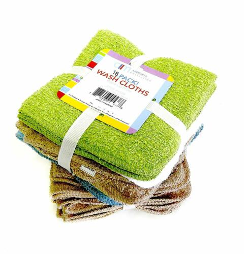 100/% Cotton Washcloths 16 Pack Colors May Vary 11 x 11 Inch USA Seller
