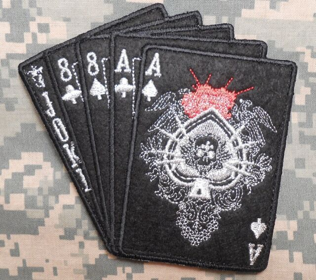 DEAD MANS HAND ACES & 8'S NAVY SEAL .TACTICAL ARMY SILVER BLACK OPS HOOK PATCH