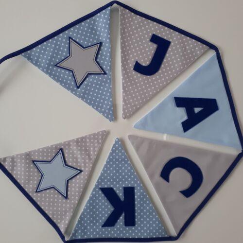 Baby Boy ~ Nursery//Kids Personalised Blue /& Grey Fabric Bunting ~ Name Gift