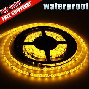 Amber-Yellow-5M-16-4Ft-300-LED-Strip-Light-Tape-Flexible-Waterproof-3528-SMD-12V