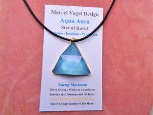 LARGE-VOGEL-Aqua-Aura-Quartz-Triangle-Pendant-18-K-Gold-on-Silver-SUPER-VOGEL