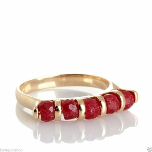 Technibond Real Red Corundum Gemstone Stack Ring 14K Yellow Gold Clad Silver HSN