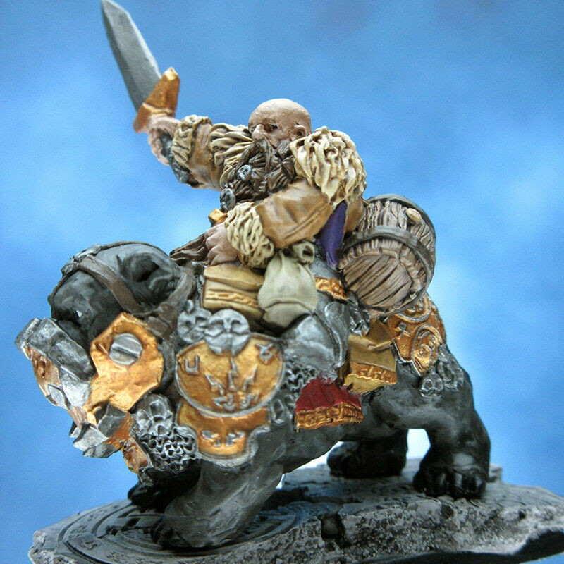Painted Scibor Miniature Dwarf on War Dog