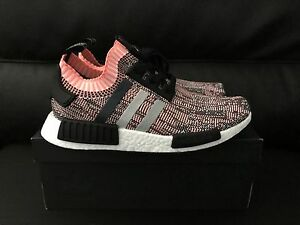 586468153 Adidas NMD R1 Primeknit Boost Salmon Pink Camo Athletic Sneakers ...
