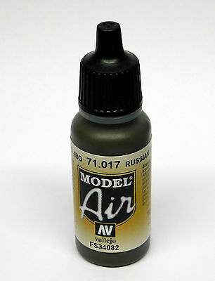 Vallejo Model AIR RUSSIAN GREEN 4BO 71.017 Acrylic Paint 17ml Airbrush Ready