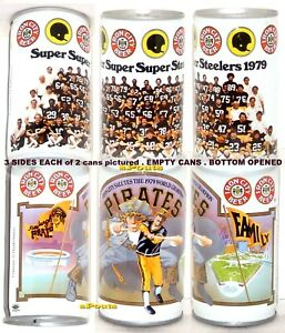 PITTSBURGH PIRATE-STEELER<wbr/>S FAMILY 1979 BEER CANS IRON CITY BASEBALL NFL FOOTBALL
