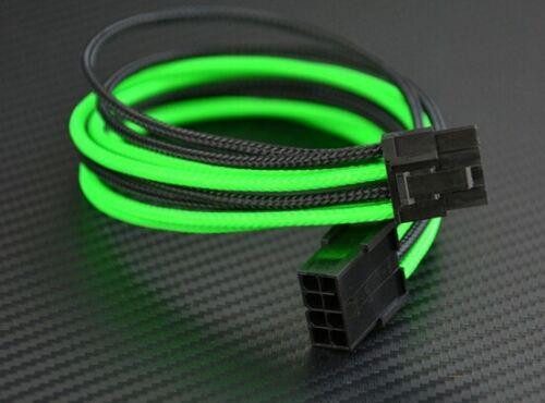 GPU 8 Pin to 6+2 Pin PCI-E Power Extension Cable Black /& Green Sleeved UV Nylon