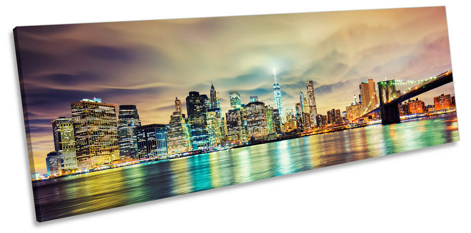 New York City Night Skyline Panoramic CANVAS WALL ART Framed Print