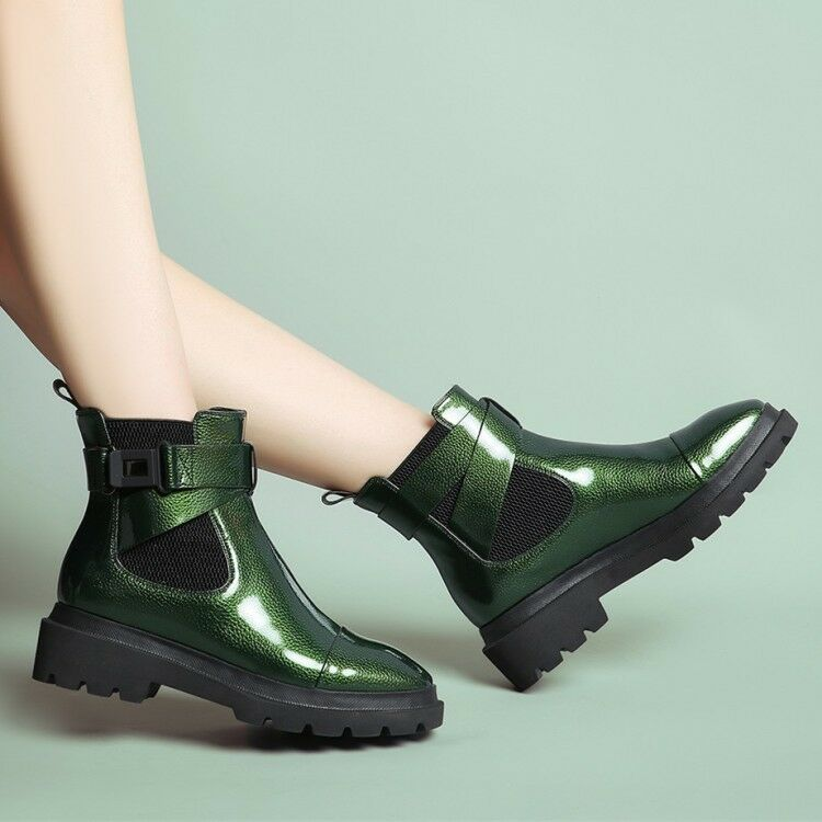 Women Round Toe Buckle Strap Retro Pull On Ankle Boots Fashion Punk Winter shoes