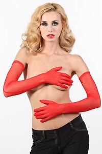 Gants Longs Rouges 62cm En Résille Fine Couture Pin-up Rétro Burlesque Sexy Glam Avec Des MéThodes Traditionnelles