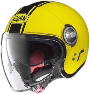 casco helmet jet n21 visor duetto led yellow nolan size xl. Black Bedroom Furniture Sets. Home Design Ideas