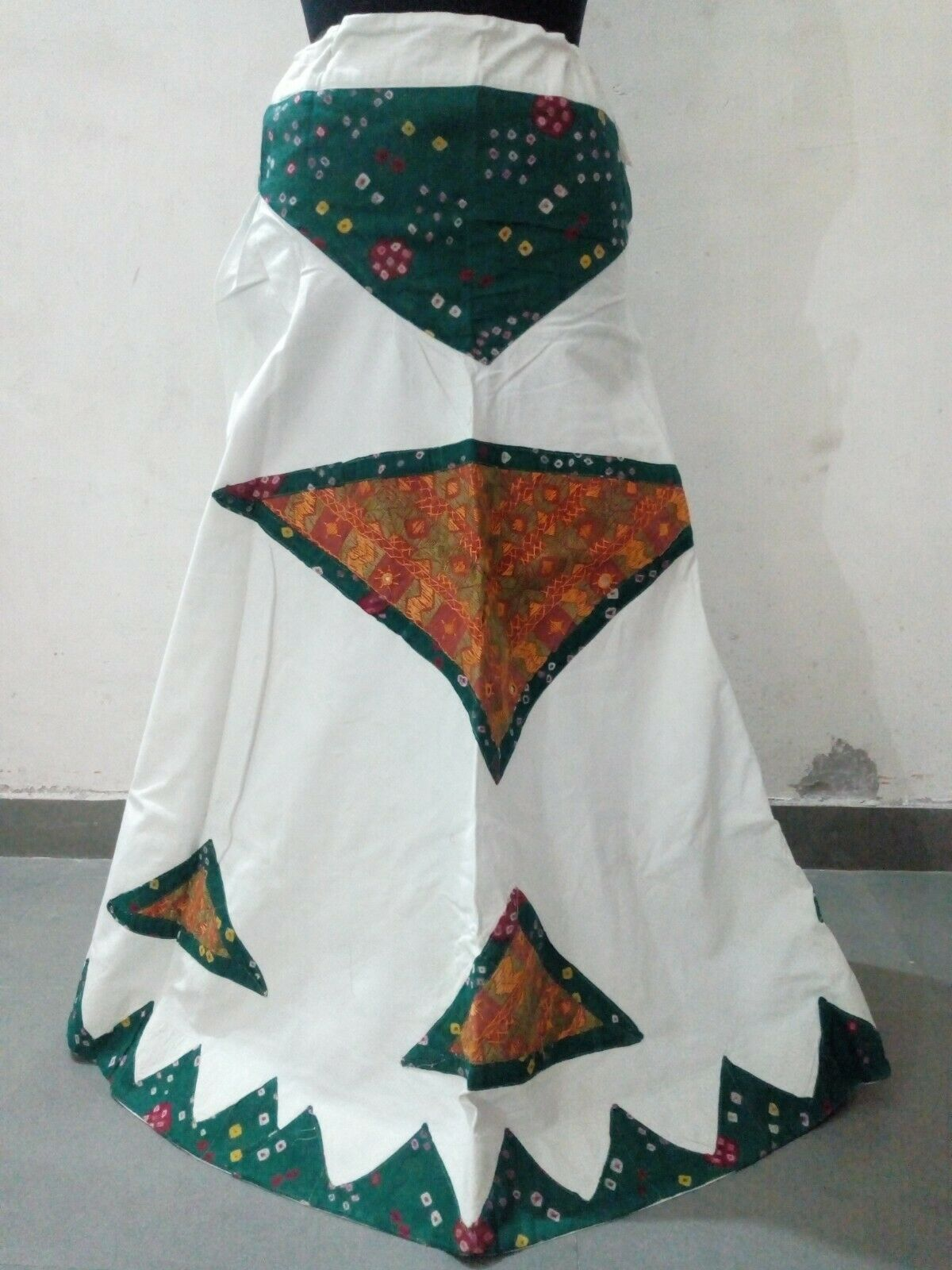 Indian Vintage Pure Cotton White Skirt Lehenga Heavy Bandhani Patchwork Handwork