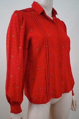 FLORENTINE FLOWERS Red 100% Silk Circular Print Blouse Shirt Top Sz:42; UK10