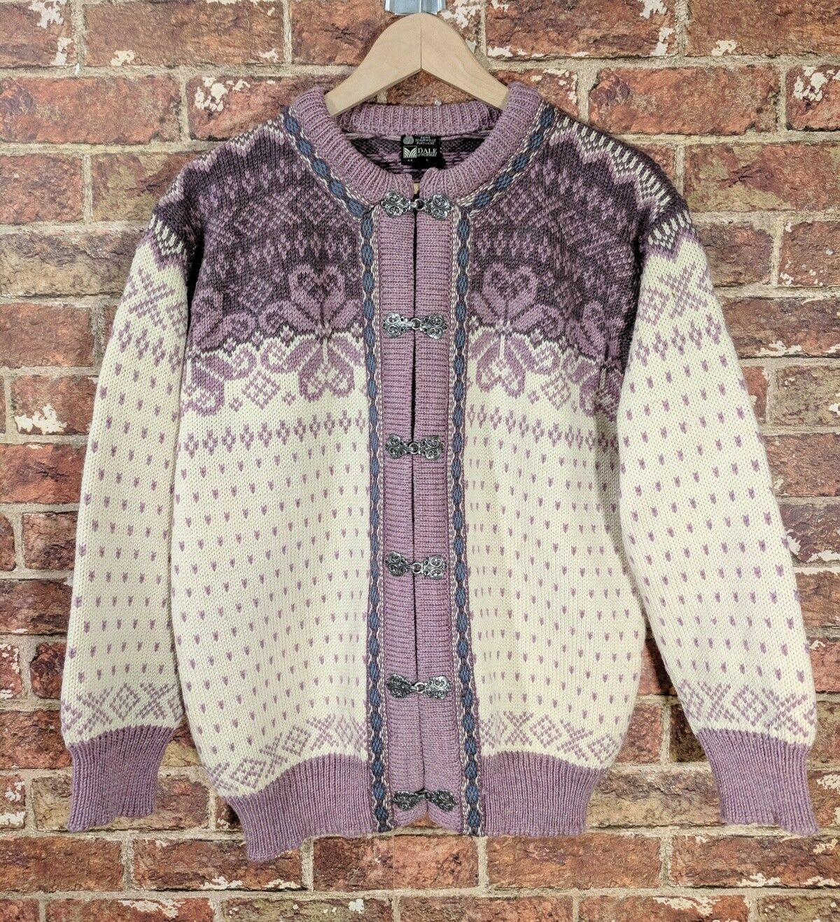 Dale of Norway 44 L Cardigan Sweater Fair Isle Mauve Wolle Scandinavian Nordic