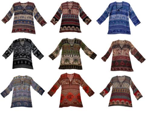 Lot 20 Pcs Indian Shirt Us Blouse Long Sleeve Women Tops Ladies Casual Wholesale