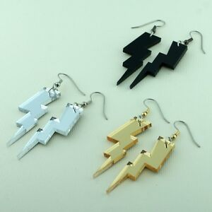 Image Is Loading Superstar Rockstar Superhero Lightning Bolt Earrings Black Gold
