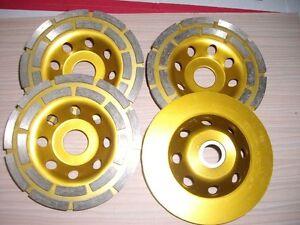 "8 X 5"" Diamond Double Row Grind Cup Wheel concrete travertine quartz terrazzo"
