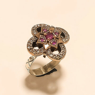 Luxury Ruby Ring for Women Geometry Classic Silver 925 Jewelry Large Gemstones 7