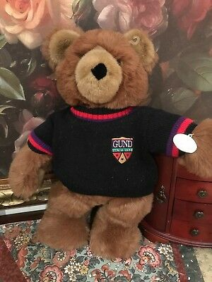 Gund 1988 Large 19 inch Collectors Classic Brown Furry Bear Sweater with Patch