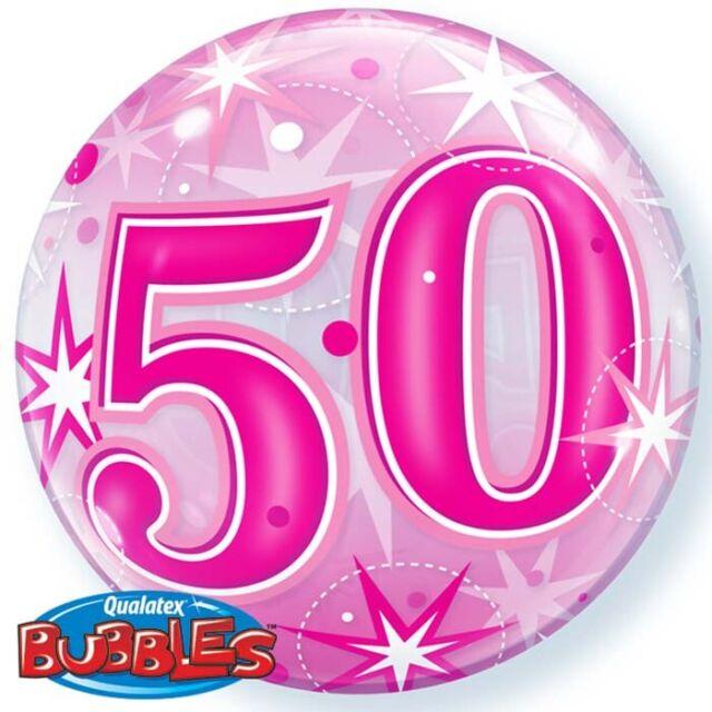 Ballon BUBBLES Qualatex 56cm de diamètre Chiffre 50 Anniversaire Rose