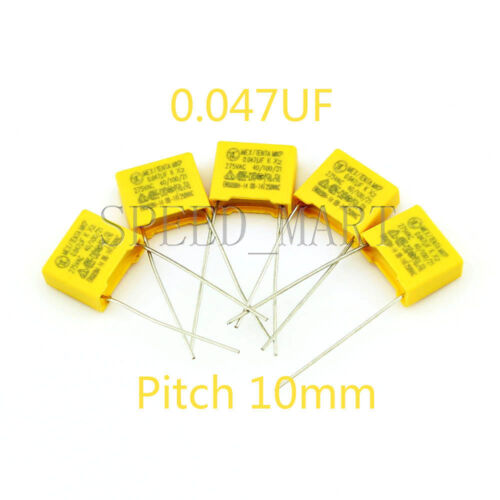 5 pcs Polypropylene Safety Capacitor 473K 275V 0.047UF 47NF Pitch 10mm