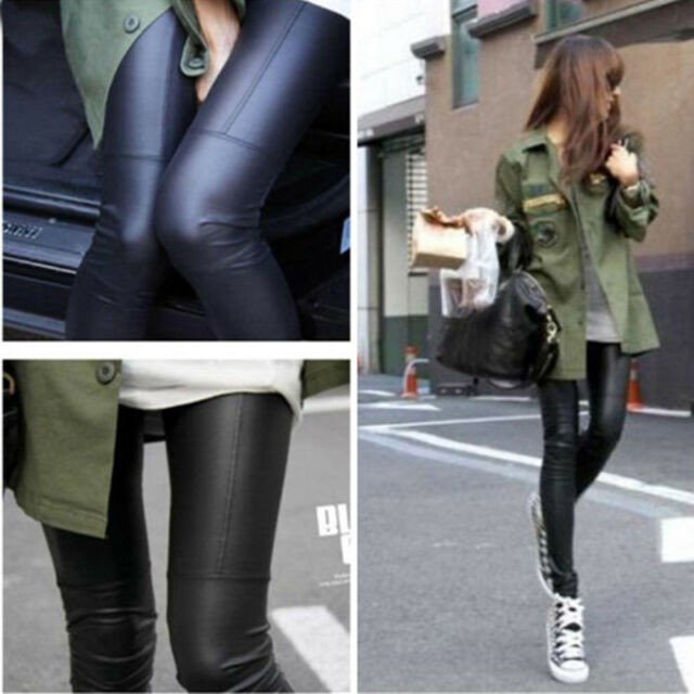 New Fashion Womens Sexy Stretch Black Faux Leather Tights Legging Pants One Size