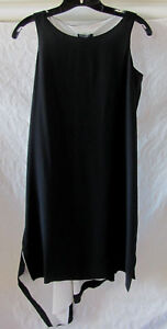 Eileen-Fisher-Silk-Crepe-de-Chine-Dress-Asymmetrical-Hem-Black-Size-PS-NWT-398