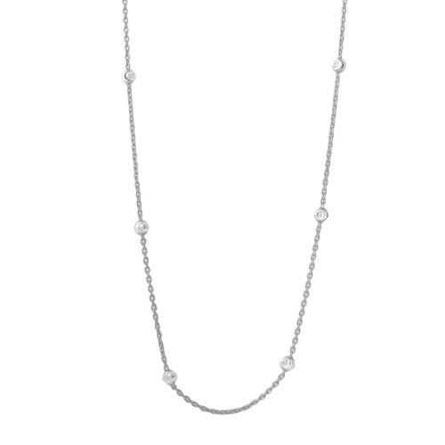 Argent Sterling .925 Diamond Cut perles rhodium plaqué italien chaîne Collier