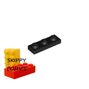 6x Plaque Plate 1x3 3x1 noir//black 3623 NEUF Lego