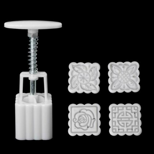 5Pcs Stamps 50g Square Flower Moon Cake Mold Mould Pastry Mooncake DIY Tool