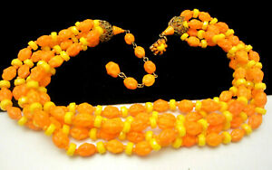 Vintage-16-034-Signed-Miriam-Haskell-Yellow-Orange-Art-Glass-Bead-Necklace-A46