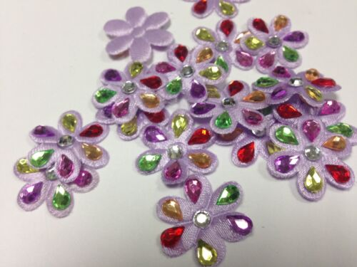 24 x 20mm Lilac Flower Crystals Sew On Embellishments DIY Card Making
