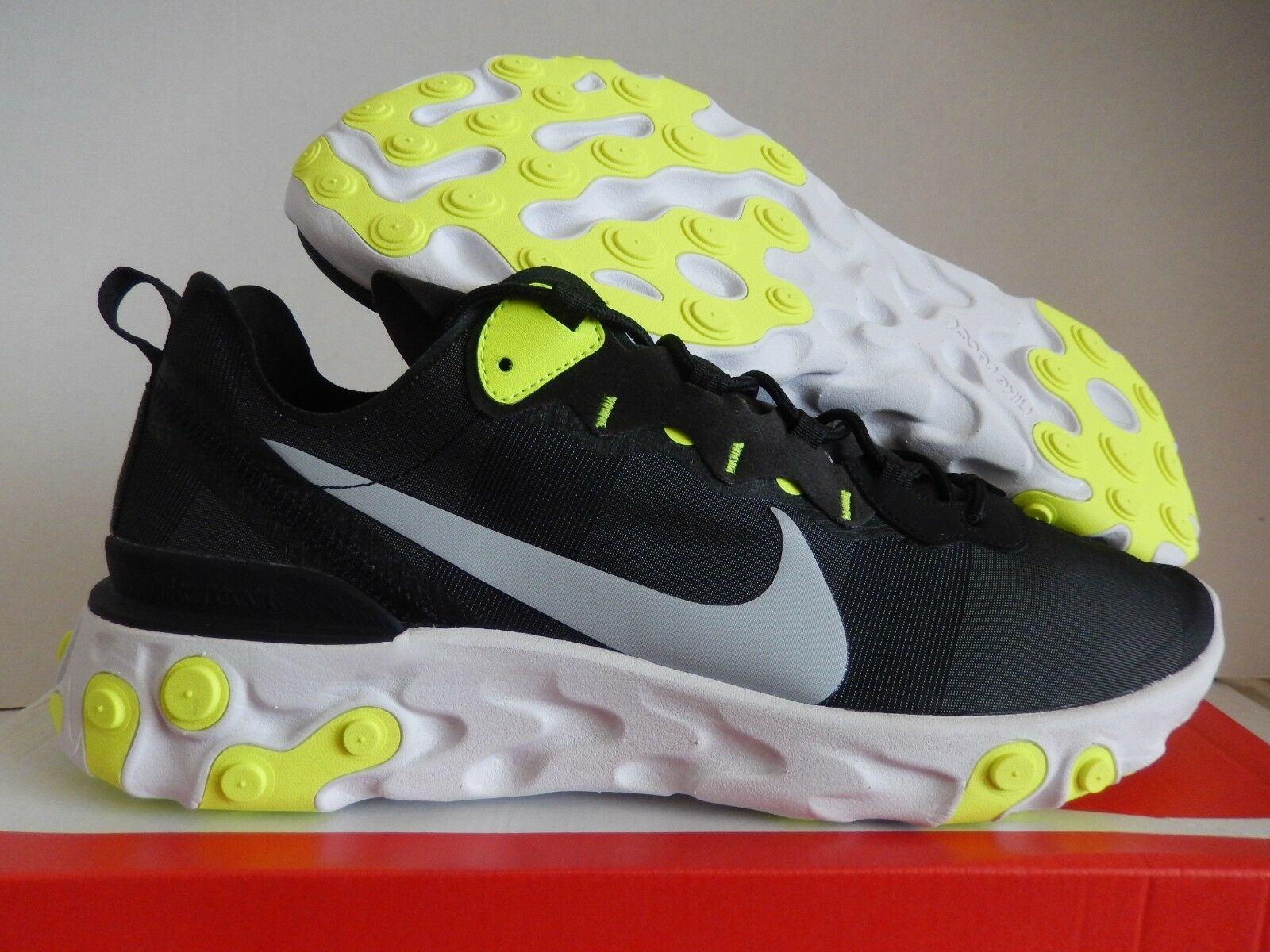 NIKE REACT ELEMENT 55 BLACK-WOLF GREY-VOLT-WHITE SZ 15 [BQ6166-001]