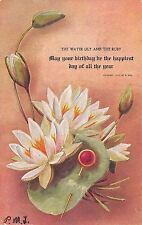 R Hill Birthday Series~July~Water Lily & Ruby Stick Pin~Embossed~1907 Postcard