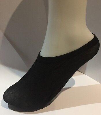 Señoras 50% algodón - 50% nylon Manitas (Zapato los trazadores de líneas) tamaño 4-7 en negro, 2 Pares Pack