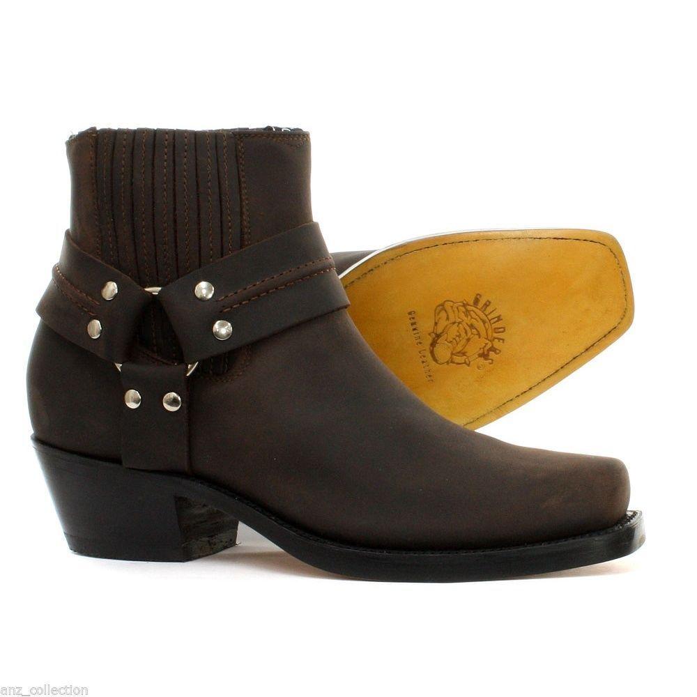 Grinders Harness Lo Braune Herren Damen Leder Cowboy Riding Stiefeletten Schuhe