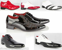 Mens New Black Red Leather Lined Patent Party Formal Dress Wedding Shoes UK 6-12