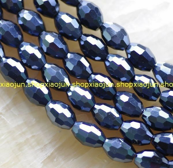 7x12mm Faceted Black Swarovski Crystal Rice Beads 70pcs