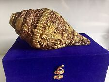 Large Brass Conch Shank Gift Box Vishnu Avtar Hand Carved Heavy Home Decor Hindu
