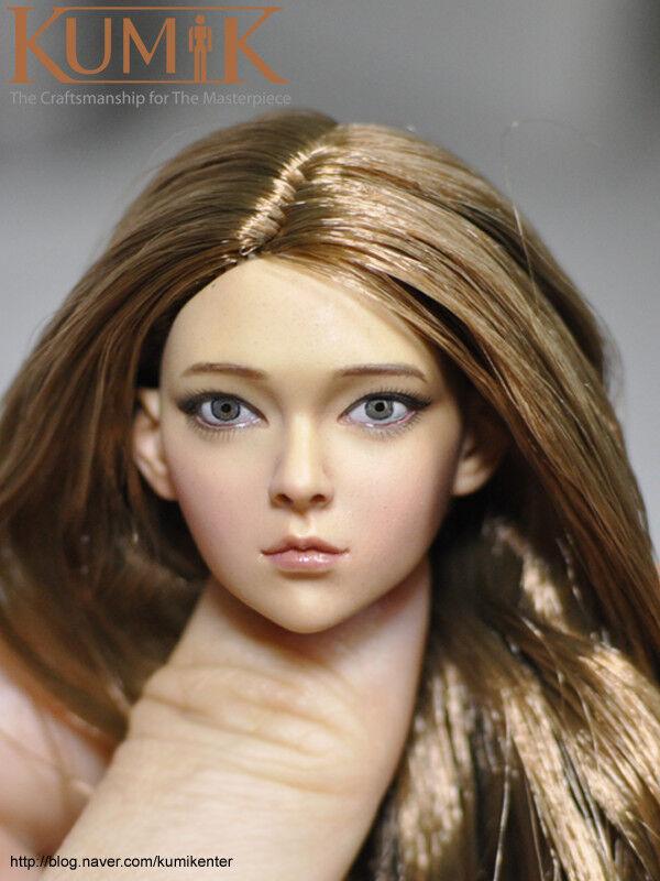 1 6 Scale Kumik16-84 Female Figure Head Sculpt Model For 12  Woman Body Toy Gift