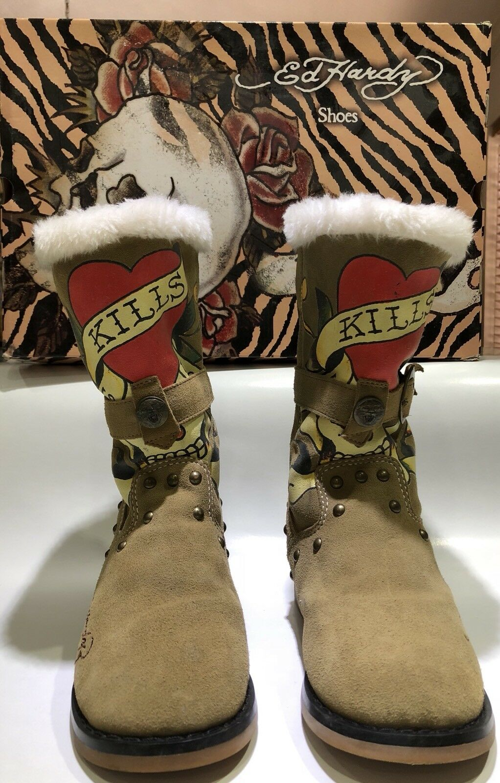 Ed Hardy Taupe Suede Moccasin Boots Euro Size 36 - US Size 5