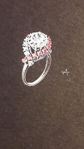 DESPRES Dessin original GOUACHE 2 bagues rubis et diamants BIJOU ART DECO 1930 oM26asVy-08035544-589211782