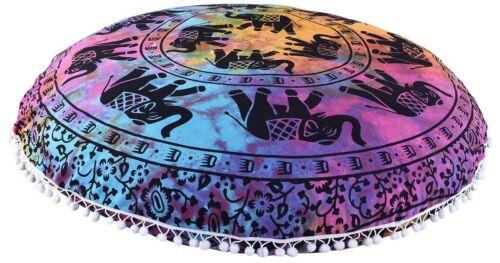 "Indian Mandala Coussin couverture bohème ronde 32/"" Throw Large Plancher Taie d/'oreiller"