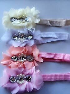 1 baby Shower Kid Children Girls Dance shiny Pearl Floral Flower Hair Head band