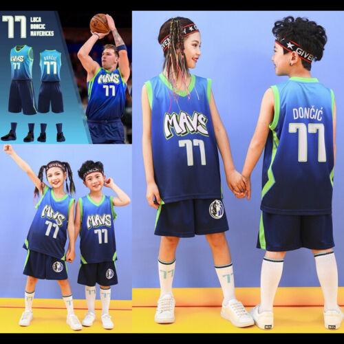 #77 Luka Doncic Dallas Mavericks Luka Dončić Child Youth Kids Jersey Shorts Kit